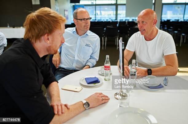 Andreas Kraul journalist of Danmarks Radio DR Sporten Niels Frydenlund head of media of Silkeborg IF and Peter Sorensen head coach of Silkeborg IF...