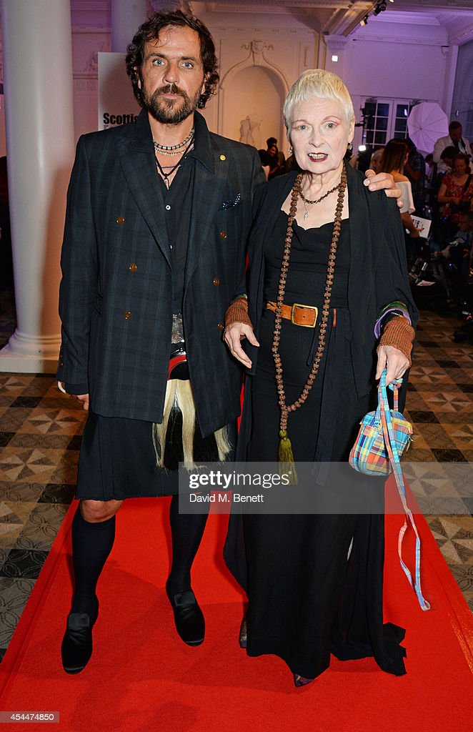 Andreas Kronthaler (L) and Dame Vivienne Westwood arrive at the Scottish fashion invasion of London at the 9th annual Scottish Fashion Awards at 8 Northumberland Avenue on September 1, 2014 in London, England.