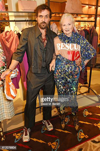 Andreas Kronthaler and Dame Vivienne Westwood attend the opening of Vivienne Westwood's new Paris store as part of the Paris Fashion Week Womenswear...