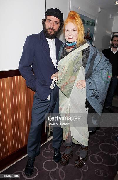 Andreas Kronthaler and Dame Vivienne Westwood attend the Vivienne Westwood aftershow dinner at Kitchen Joel Antunes at Embassy Mayfair during London...