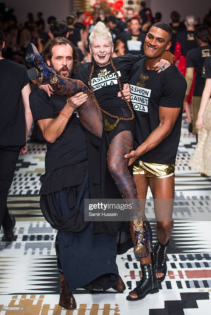 Andreas Kronthaler and Dame Vivienne Westwood walk the runway at the Fashion For Relief charity fashion show to kick off London Fashion Week Fall/Winter 2015/16 at Somerset House on February 19, 2015 in London, England. The Fashion For Relief show is in support of Ebola, raising funds and awareness for Disaster Emergency Committee: Ebola Crisis Appeal and the Ebola Survival Fund.