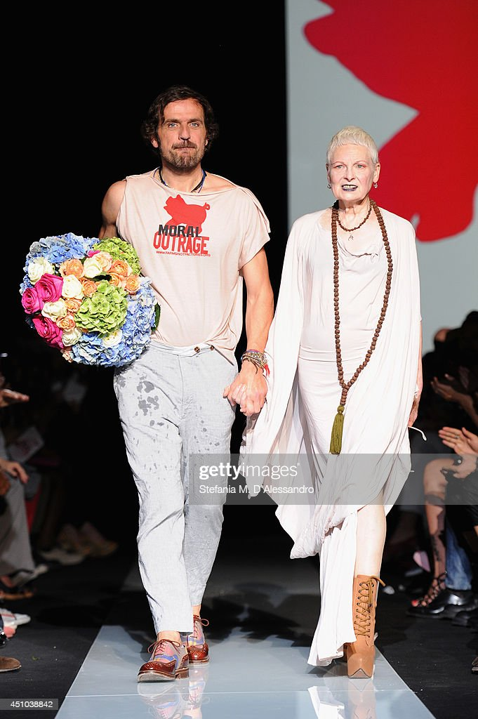 Andreas Kronthaler and Vivienne Westwood walk the runway after the Vivienne Westwood show as part of Milan Fashion Week Menswear Spring/Summer 2015 on June 22, 2014 in Milan, Italy.