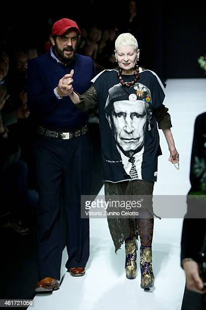 Andreas Kronthaler and Vivienne Westwood walk the runway during the Vivienne Westwood show as a part of Milan Menswear Fashion Week Fall Winter...