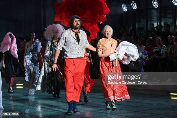 Andreas Kronthaler and Vivienne Westwood walk the runway during the Vivienne Westwood Spring Summer 2018 show as part of Paris Fashion Week at on...