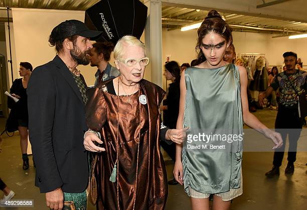 Andreas Kronthaler and Vivienne Westwood with a model backstage at the Vivienne Westwood Red Label show during London Fashion Week SS16 at Ambika P3...