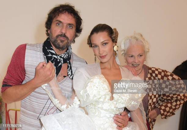 Andreas Kronthaler Bella Hadid and Dame Vivienne Westwood attend the Andreas Kronthaler For Vivienne Westwood Womenswear Spring/Summer 2020 show as...
