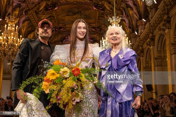 Andreas Kronthaler, Bella Hadid and Vivienne Westwood walks the runway during the Vivienne Westwood show as part of the Paris Fashion Week Womenswear...