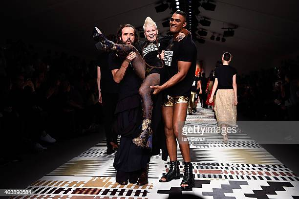 Andreas Kronthaler, Dame Vivienne Westwood and a model walk the runway at the Fashion For Relief charity fashion show to kick off London Fashion Week...