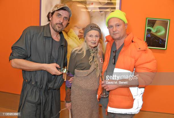 Andreas Kronthaler Dame Vivienne Westwood and Juergen Teller attend a private view of Juergen Teller's new exhibition Demelza Kids at Bonhams on...