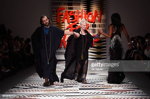 Andreas Kronthaler, Dame Vivienne Westwood and Naomi Campbell walk the runway at the Fashion For Relief charity fashion show to kick off London...