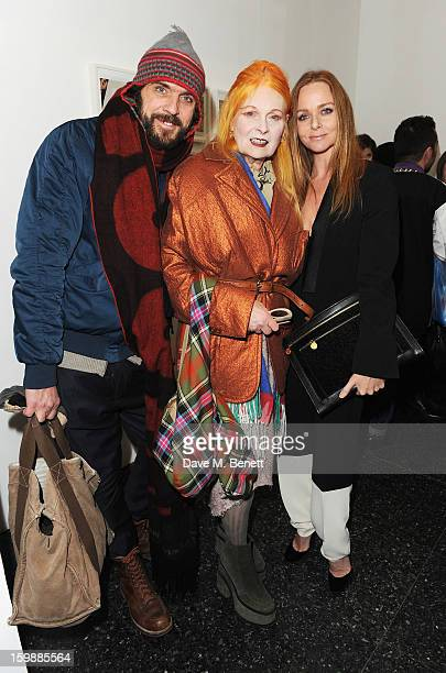 Andreas Kronthaler Dame Vivienne Westwood and Stella McCartney attends the private view of Juergen Teller's 'Woo' at ICA on January 22 2013 in London...