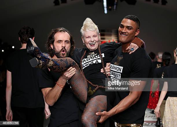Andreas Kronthaler Vivienne Westwood and a model walk the runway at the Fashion For Relief charity fashion show to kick off London Fashion Week...