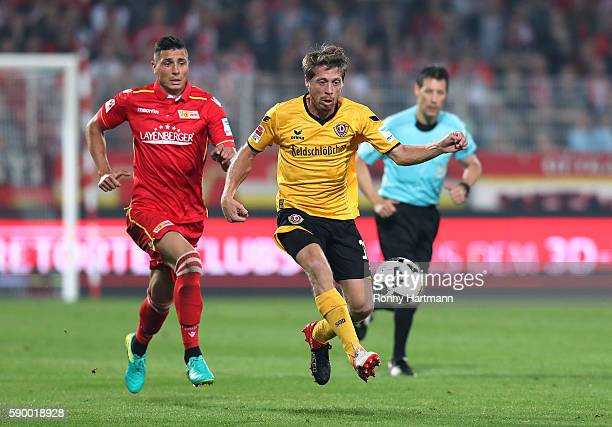 Andreas Lambertz of Dresden and Damir Kreilach of Berlin compete during the Second Bundesliga match between 1 FC Union Berlin and SG Dynamo Dresden...