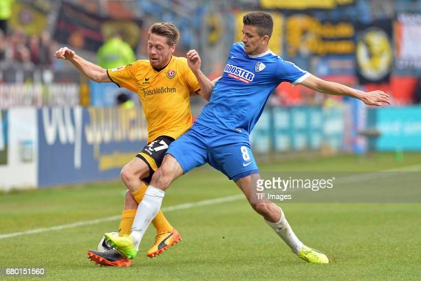Andreas Lambertz of Dresden and Tim Hoogland of Bochum battle for the ball during the Second Bundesliga match between VfL Bochum and SG Dynamo...