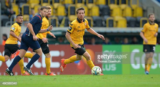 Andreas Lambertz of Dresden plays the ball during the Third League match between SG Dynamo Dresden and VfR Aalen at Stadion Dresden on September 27...