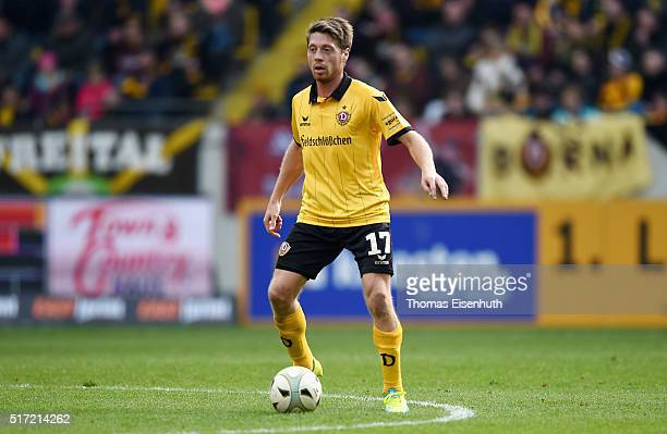 Andreas Lambertz of Dresden plays the ball during the Third League match between SG Dynamo Dresden and FC Hansa Rostock at DDVStadion on March 19...
