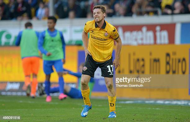 Andreas Lambertz of Dresden reacts during the Third League match between SG Dynamo Dresden and 1 FC Magdeburg at Stadion Dresden on October 31 2015...
