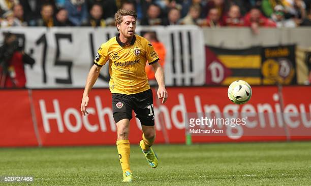 Andreas Lambertz of Dresden runs with the ball during the third league match between SG Dynamo Dresden and Holstein Kiel at DDVStadion on April 9...