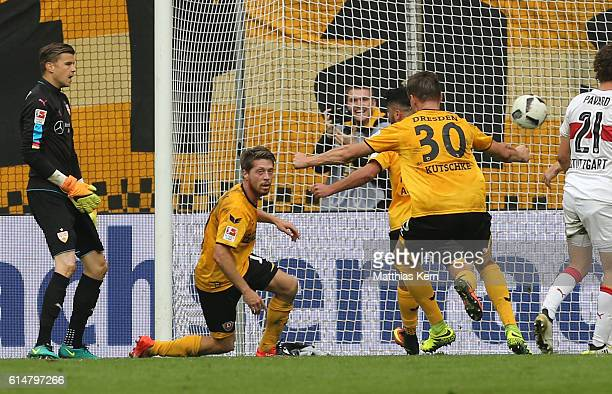 Andreas Lambertz of Dresden scores the second goal during the Second Bundesliga match between SG Dynamo Dresden and VfB Stuttgart at DDVStadion on...