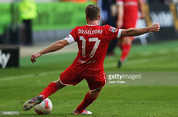Andreas Lambertz of Duesseldorf controls the ball during the Bundesliga match between Fortuna Duesseldorf 1895 and VfL Wolfsburg at EspritArena on...