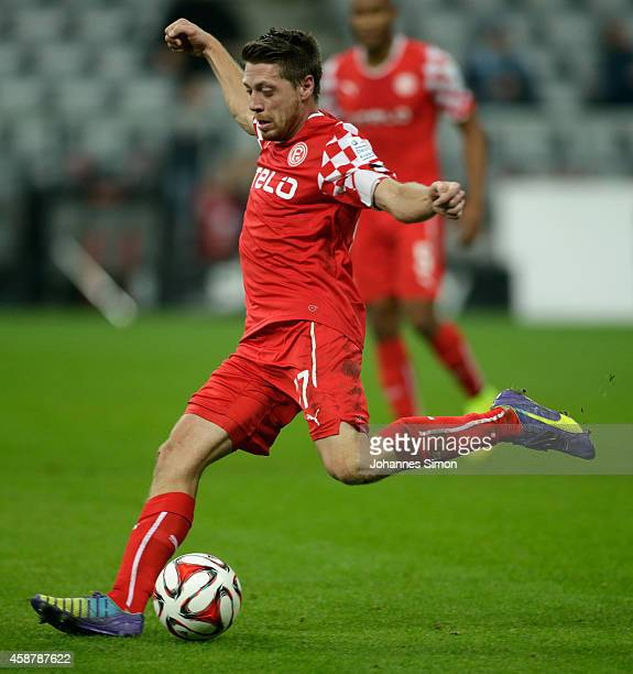 Andreas Lambertz of Duesseldorf in action during the Second Bundesliga match between 1860 Muenchen and Fortuna Duesseldorf at at Allianz Arena on...