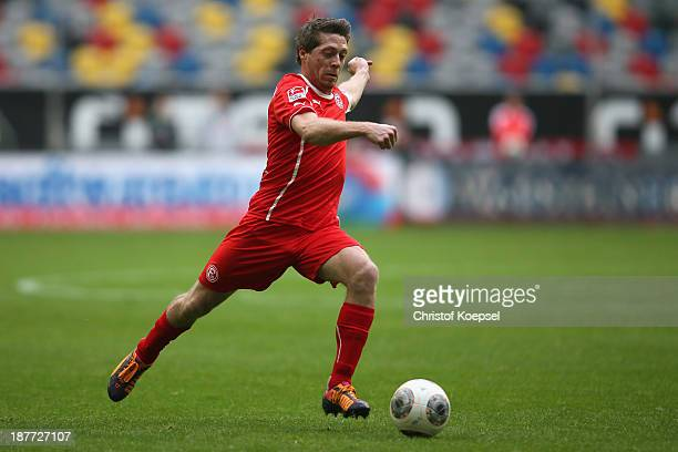 Andreas Lambertz of Duesseldorf runs with the ball during the Second Bundesliga match between Fortuna Duesseldorf and SV Sandhausen at EspritArena on...