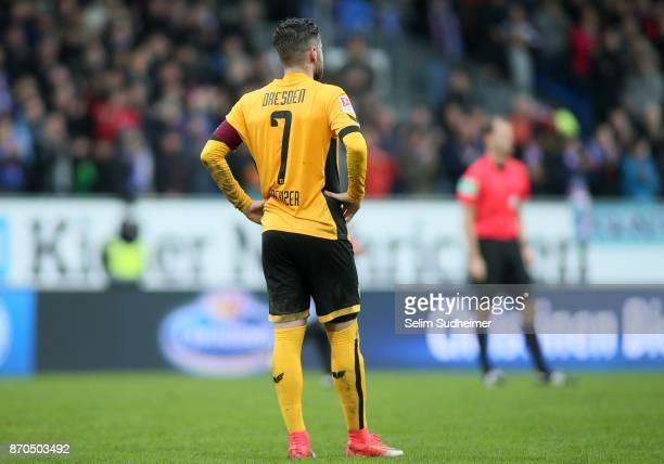 Andreas Lambertz of Dynamo Dresden looks on after the Second Bundesliga match between Holstein Kiel and SG Dynamo Dresden at HolsteinStadion on...