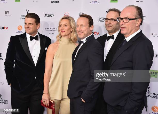 Andreas Lautz Leopold Hoesch Anna Schudt Herbert Knaup and Wotan Wilke Mohring attends the 46th Annual International Emmy Awards Arrivals at New York...