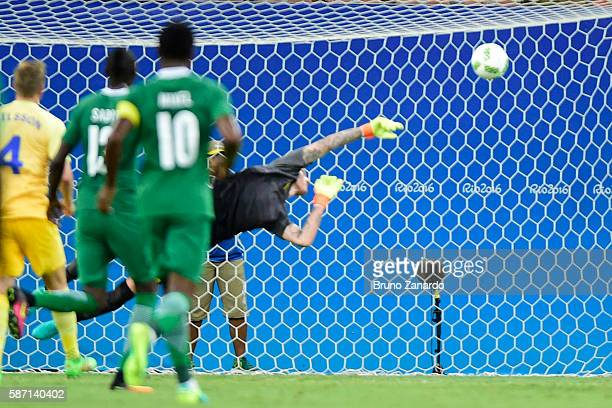 Andreas Linde goalkeeper of Sweden in action during 2016 Summer Olympics match between Sweden and Nigeria at Arena Amazonia on August 7 2016 in...