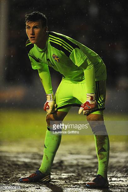 Andreas Linde of Sweden in action during the U21 International match between England U21 and Sweden U21 at Banks' Stadium on February 5 2013 in...