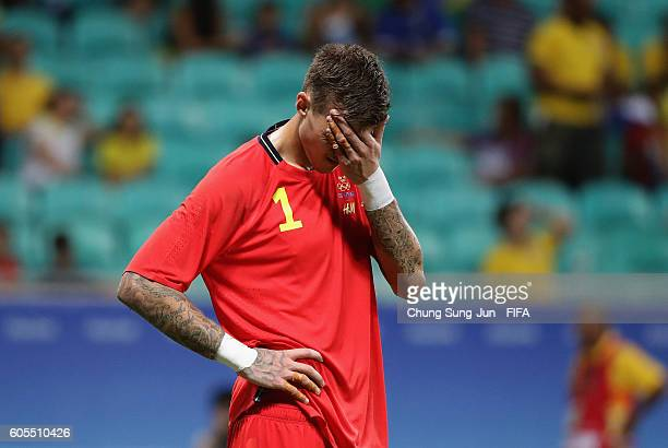 Andreas Linde of Sweden in dejection after the Men's Football match between Japan and Sweden on Day 5 of the Rio 2016 Olympic Games at Arena Fonte...
