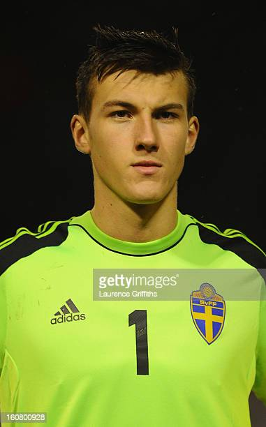 Andreas Linde of Sweden lines up prior to the U21 International match between England U21 and Sweden U21 at Banks' Stadium on February 5 2013 in...