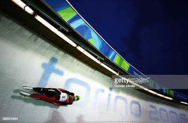 Andreas Linger and Wolfgang Linger of Austria make their second run en route to winning the gold medal in the Mens Luge Double Final on Day 5 of the...