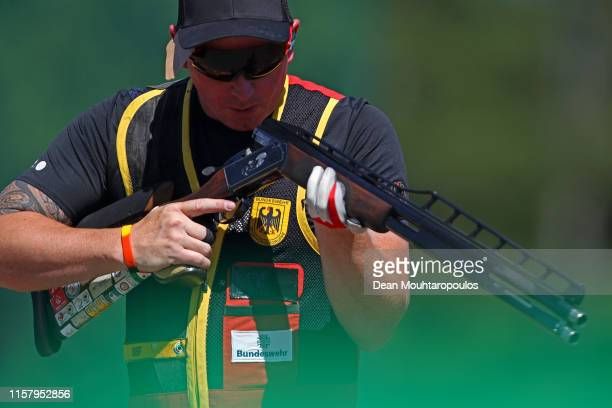 Andreas Loew of Germany competes during the Mixed Team Shotgun Trap Qualifications event during Day 4 of the 2nd European Games at the Sporting Club...