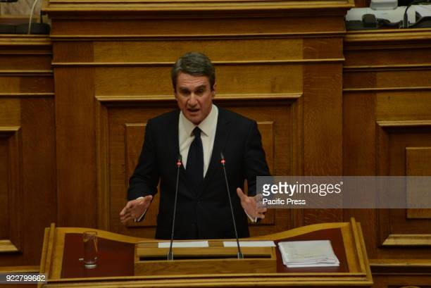 PARLIAMENT ATHENS ATTIKI GREECE Andreas Loverdos deputy of Pasok party and of Democratic coalition former Minister of Health during his speech in...