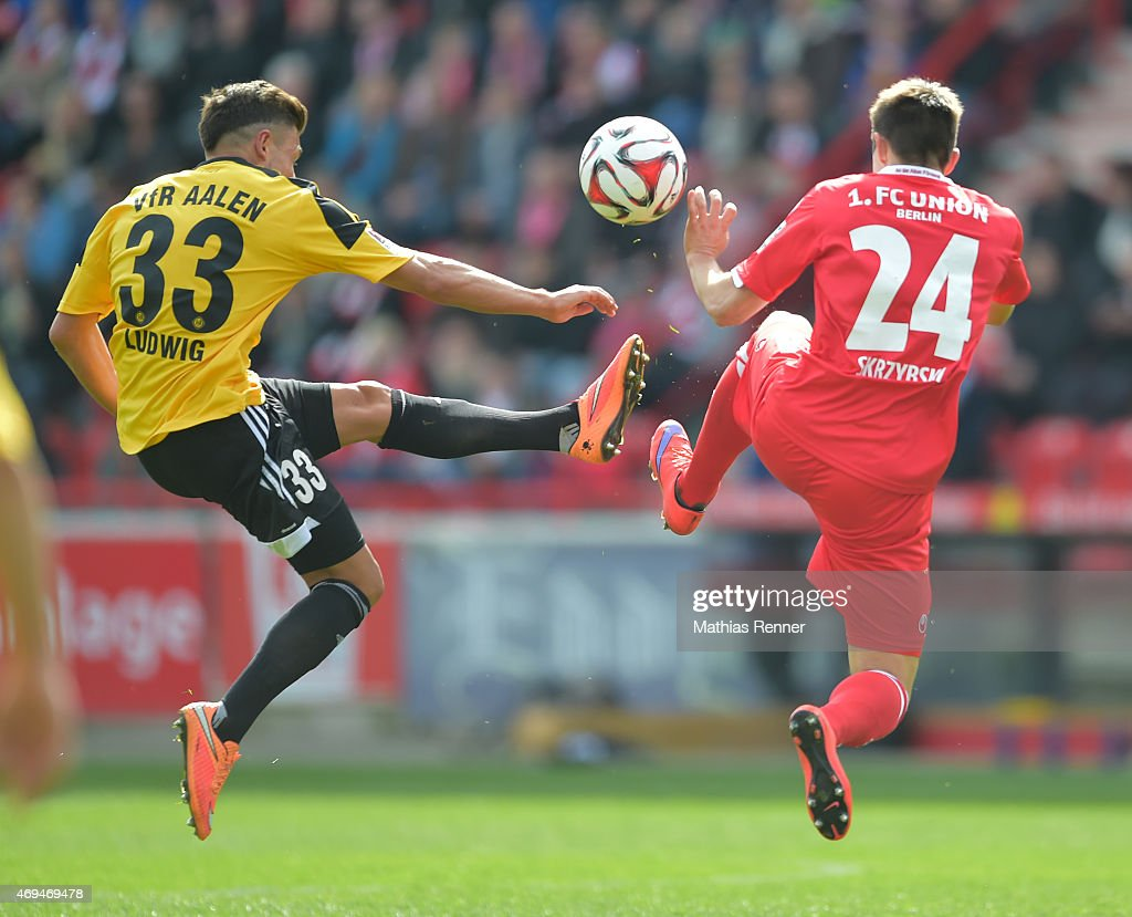 Andreas Ludwig of VfR Aalen and Steven Skrzybski of 1 FC Union Berlin during the game between Union Berlin and VfR Aalen on april 12, 2015 in Berlin, Germany.