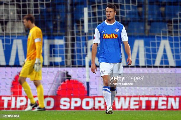 Andreas Luthe and Marcel Maltritz of Bochum look dejected after the second goal of Kaiserslautern during the Second Bundesliga match betweeen VfL...