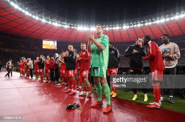 Andreas Luthe of 1.FC Union Berlin celebrates after the UEFA Conference League Play-Offs Leg Two match between 1. FC Union Berlin and Kuopion PS at...