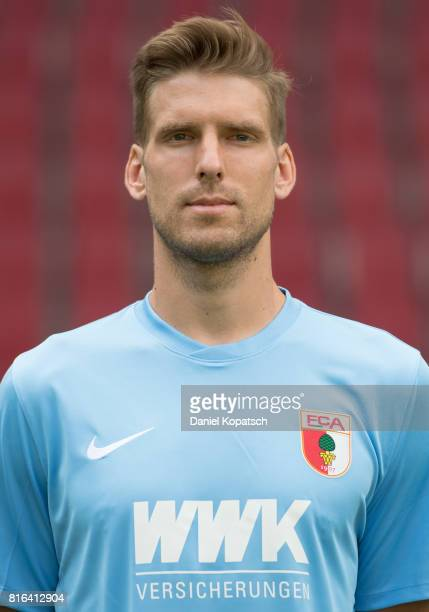 Andreas Luthe of FC Augsburg poses during the team presentation at WWK Arena on July 17 2017 in Augsburg Germany