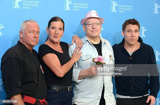Andreas Marquardt actress Katy Karrenbauer director Rosa von Praunheim and actor Hanno Koffler attend the 'Tough Love' photocall during the 65th...