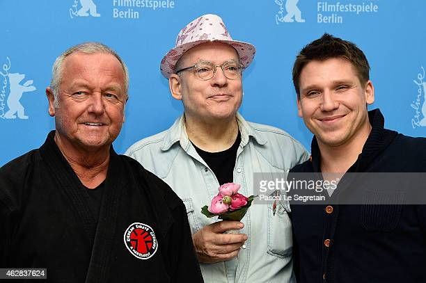 Andreas Marquardt director Rosa von Praunheim and actor Hanno Koffler attend the 'Tough Love' photocall during the 65th Berlinale International Film...