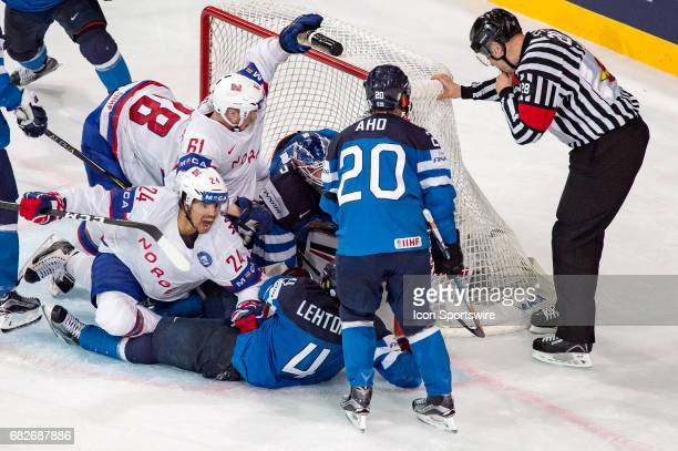 Andreas Martinsen celebrates his goal in the net of Goalie Joonas Korpisalo during the Ice Hockey World Championship between Norway and Finland at...