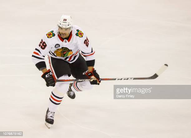 Andreas Martinsen of the Chicago Blackhawks follows the play down the ice during second period action against the Winnipeg Jets at the Bell MTS Place...