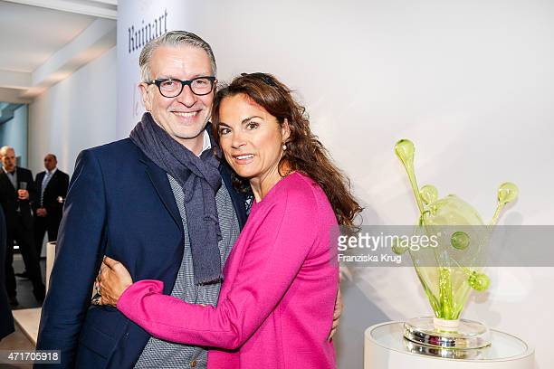Andreas Marx and Anna von Griesheim attend the Hubert le Gall Vernissage At Ruinart PopUp Gallery on April 30 2015 in Berlin Germany
