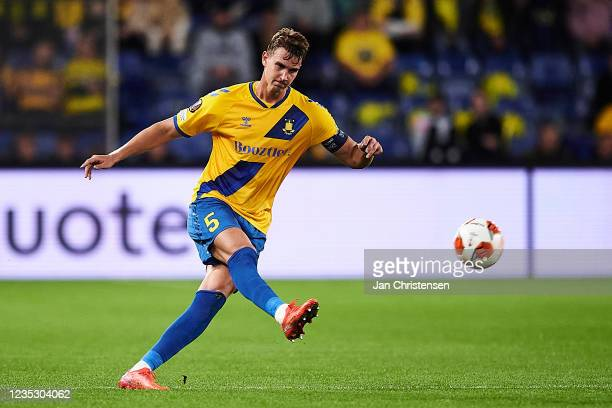 Andreas Maxso of Brondby IF in action during the UEFA Europa League match between Brondby IF and AC Sparta Praha at Brondby Stadion on September 16,...
