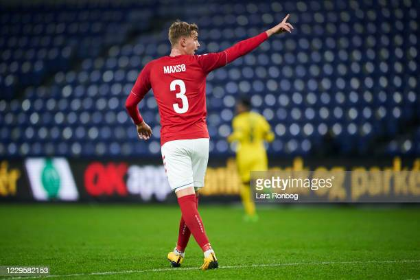 Andreas Maxso of Denmark gestures during the international friendly match between Denmark and Sweden at Brondby Stadion on November 11, 2020 in...