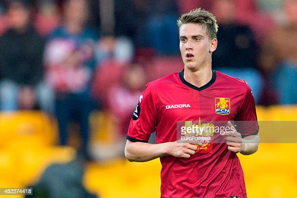 Andreas Maxso of FC Nordsjaelland in action during the Superliga football match between FC Nordsjaelland and Aalborg BK in Farum Park Stadium on May...