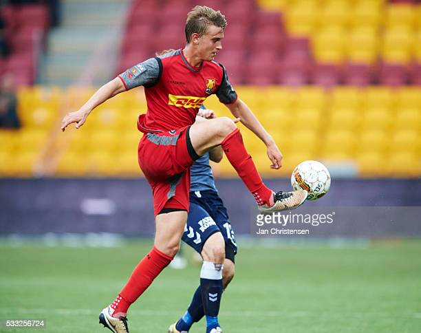 Andreas Maxso of FC Nordsjalland controls the ball during the Danish Alka Superliga match between FC Nordsjalland and AGF Arhus at Right to Dream...