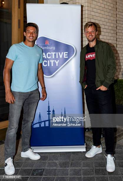 Andreas Mies and Kevin Krawietz attend the Hamburg Open 2019 Players Party at Tortue on July 23, 2019 in Hamburg, Germany.