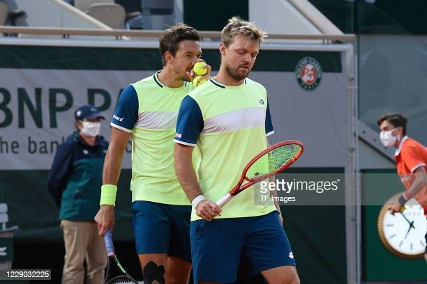 Andreas Mies and Kevin Krawietz of Germany during a match at Roland Garros on October 10, 2020 in Paris, France.